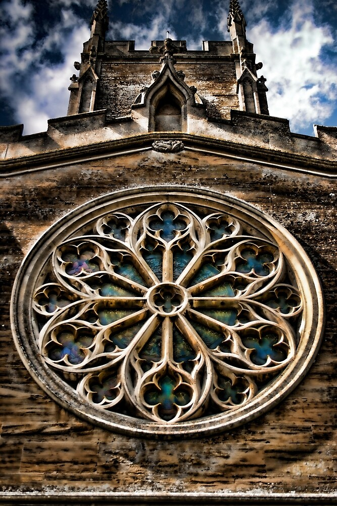 Round Stained Glass Church Window HDR  by Vicki Field