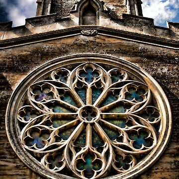 Round Stained Glass Church Window HDR  by InspiraImage