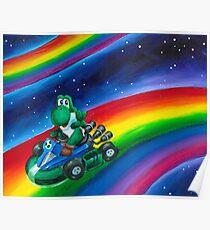 Yoshi on Rainbow Road Poster