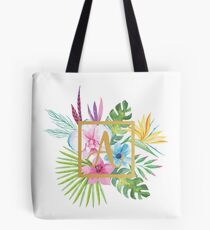 Tropical Floral With Gold Initial A Tote Bag