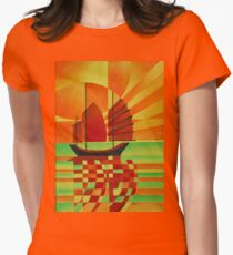 Junk on Sea of Green Cubist Abstract Women's Fitted T-Shirt