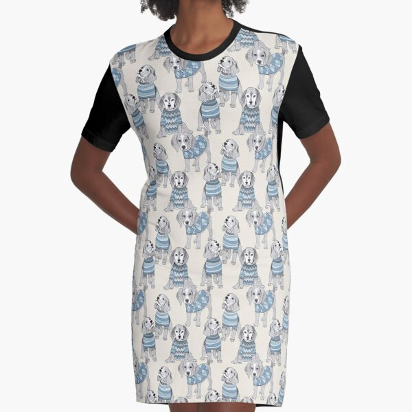 Blue Beagles Graphic T-Shirt Dress