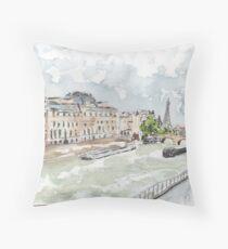 Paris Seine with Eiffel Tower Throw Pillow