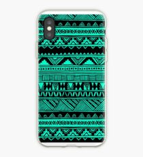 Vinilo o funda para iPhone Black Mint Turquoise Cute Girly Urban Tribal Aztec Andes Resumen patrón geométrico