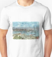 A sketch of San Francisco Bay from Grizzly Peak Unisex T-Shirt