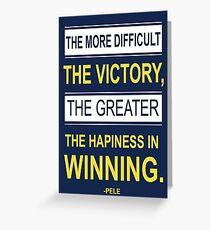 Victory inspirierende motivierende Pele Fußballer Zitate Grußkarte