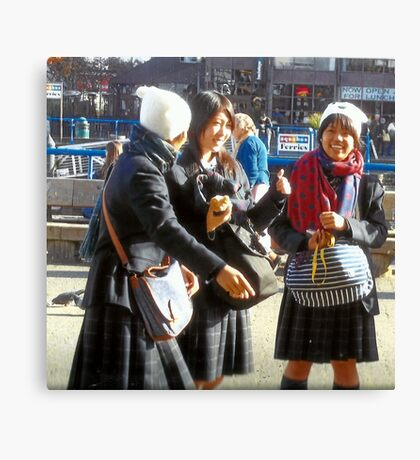 Three Teenage Girls From School Canvas Print