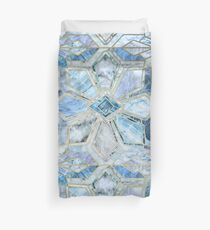 Geometric Gilded Stone Tiles in Soft Blues Duvet Cover