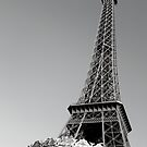Eiffel Tower in black and white by Caroline Clarkson