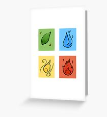 Square Designs - Four elements, Earth, Water, Air and Fire Greeting Card