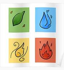 Square Designs - Four elements, Earth, Water, Air and Fire Poster