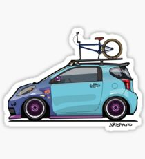Slammed Toyota Scion iQ With BMX Bike Sticker