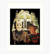 Freddy vs Jason Horror American Gothic Art Print