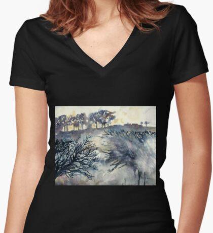 Good Friday, The Ridgeway, Oxfordshire - Original watercolour landscape by Francesca Whetnall  Women's Fitted V-Neck T-Shirt