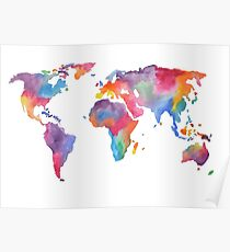 Watercolor World Map Atlas  Poster