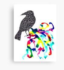 Calligraphic Crow Canvas Print