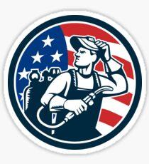Welder Looking Side USA Flag Circle Retro Sticker