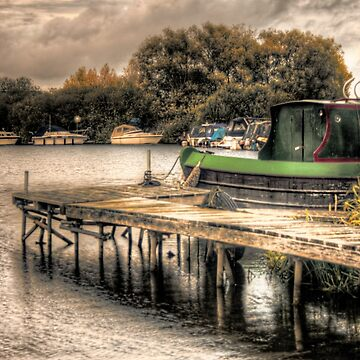 Narrow Boat and Jetty HDR  by InspiraImage