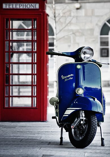 italian blue vespa rally 200 scooter posters by aj airey. Black Bedroom Furniture Sets. Home Design Ideas