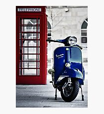 Italian Blue Vespa Rally 200 Scooter Photographic Print