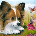 Dog 123 Papillon with Butterflies by artbylucie
