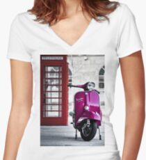 Italian Pink Vespa Rally 200 Scooter Women's Fitted V-Neck T-Shirt