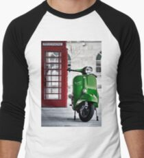 Italian Green Vespa Rally 200 Scooter Men's Baseball ¾ T-Shirt