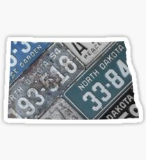 Vintage North Dakota License Plates Sticker