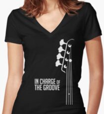 Bass Player - In Charge of the Groove - Bass Guitarist - Bassist Women's Fitted V-Neck T-Shirt