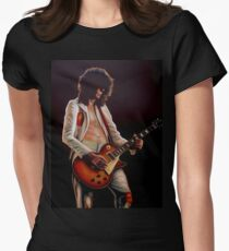 Jimmy Page In Led Zeppelin Painting Women's Fitted T-Shirt
