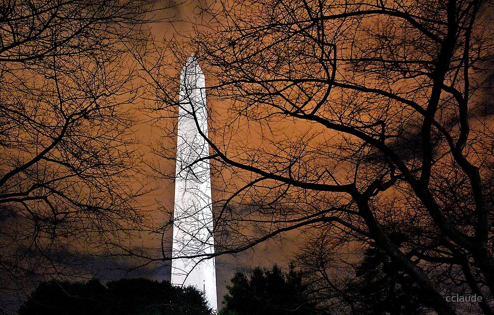 The Washington Monument at night by cclaude