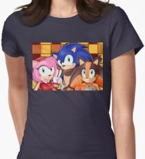 Sonic Boom: Sonic, Amy Rose and Sticks Womens Fitted T-Shirt