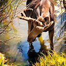 Moose in the Water by KellyHeaton