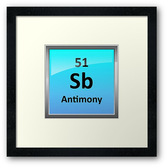 Antimony Periodic Table Element Symbol Framed Prints By