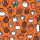 Kitchen Teapots - Orange by Andrea Lauren von Andrea Lauren