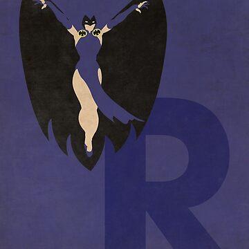 Raven - Superhero Minimalist Alphabet Print Art by justicedefender