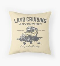 Every Mile Tells a Story - grey print Throw Pillow