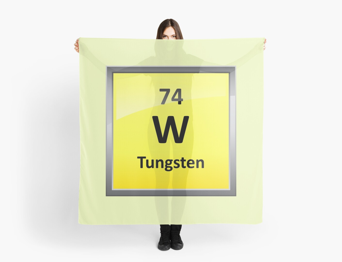 Tungsten Periodic Table Element Symbol Scarves By Sciencenotes