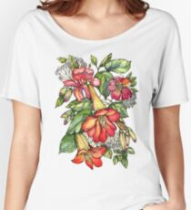 Red Trumpet Vine flowers. Women's Relaxed Fit T-Shirt