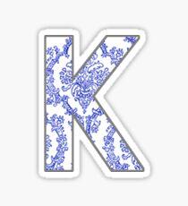 K Letter in Blue Paisley  Sticker