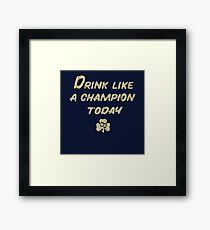 Drink Like a Champion - South Bend Style Dark Blue Framed Print