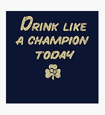Drink Like a Champion - South Bend Style Dark Blue Photographic Print