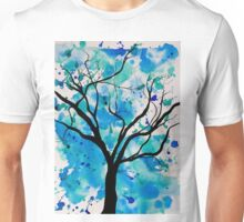 Blue Abstract Tree Drawing  Unisex T-Shirt