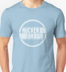 Hucker Brown - white logo Unisex T-Shirt