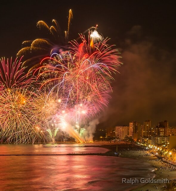 Fireworks at the Fiesta del Carmen 3 by Ralph Goldsmith