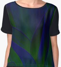 Succulent Abstract  in Blue and Green #215 Chiffon Top