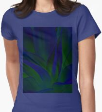 Succulent Abstract  in Blue and Green #215 Women's Fitted T-Shirt