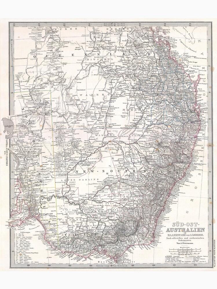 Vintage Map of Eastern Australia (1876) by BravuraMedia