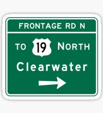 Clearwater, Road Sign, FL Sticker