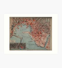 Vintage Map of Genoa Italy (1894) Art Print